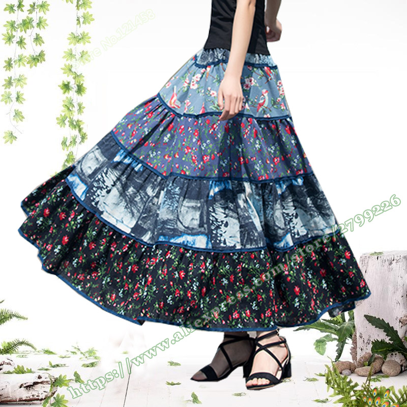 2018 Summer Cotton Linen Floral Pattern Stitching Vintage Pleated woman Long Skirt Pastoral style Maxi skirts