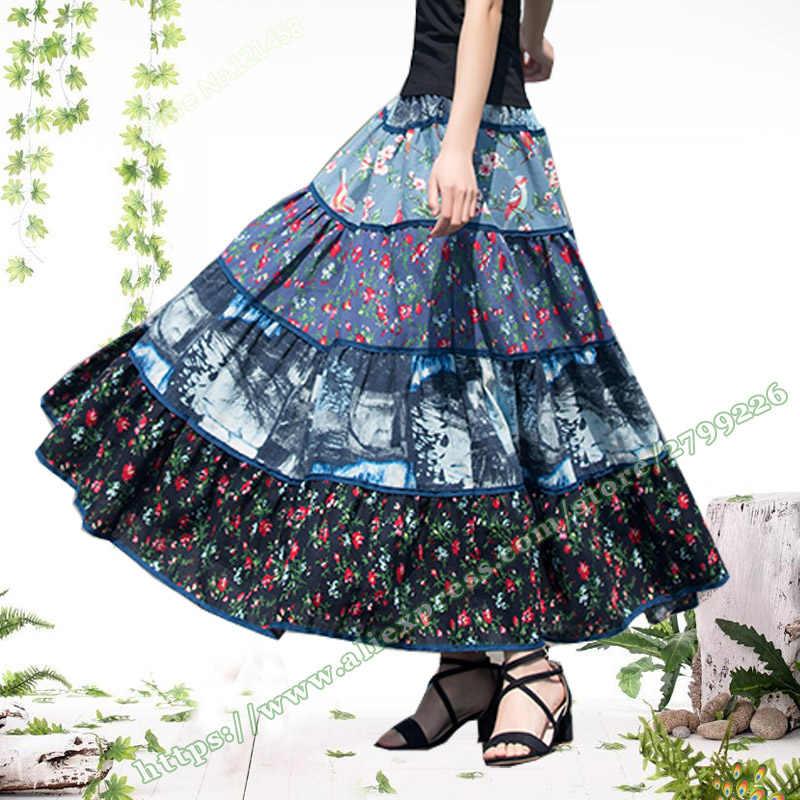 7e6de35a5 2018 verano algodón Lino patrón Floral costura Vintage plisado Mujer Falda  larga/estilo Pastoral Maxi