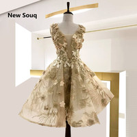 Knee Length Printed Tulle Homecoming Dresses With 3D Flowers Illusion V neck Sleeveless Cocktail Party Gowns Short Prom Dress
