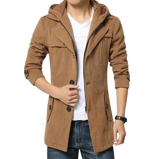 New autunno inverno uomo trench e impermeabili cappotto casual con  cappuccio cappotto di lana uomini cinghia 58ad910927d