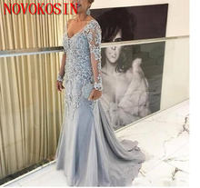 Женское вечернее платье с v образным вырезом светло голубое