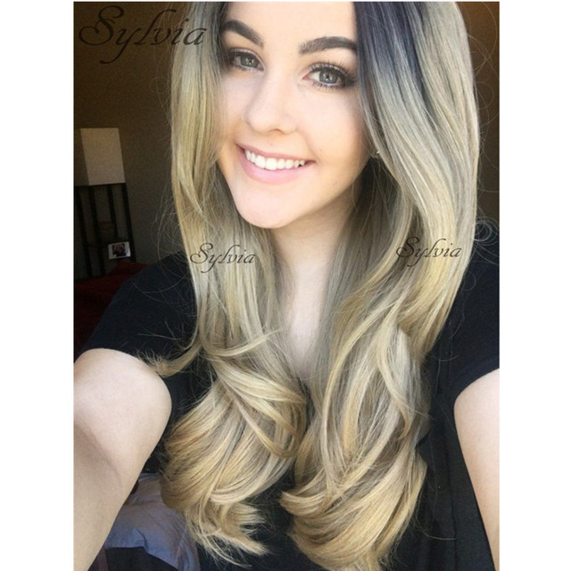 Kylie Jenner Blonde Hair Body Wave Synthetic Lace Front Wig Dark Roots Black To Ombre