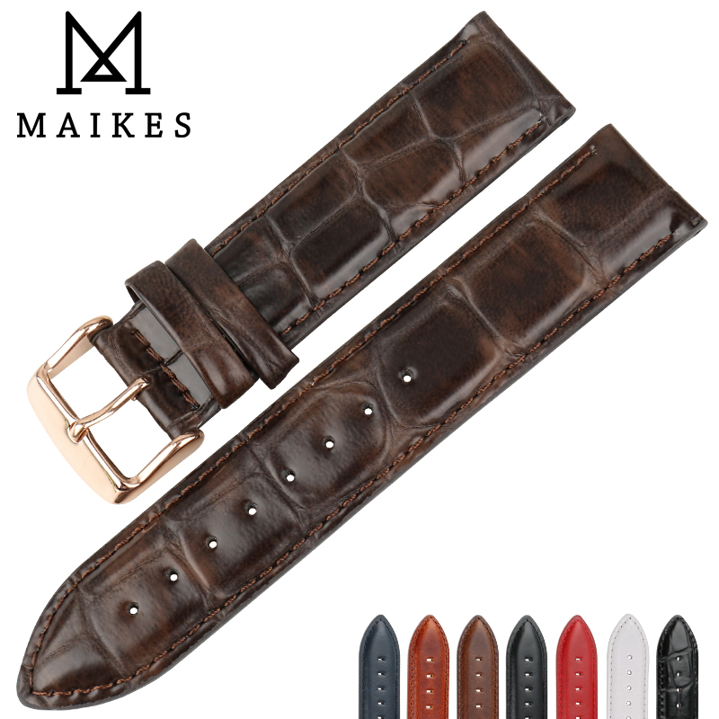 MAIKES Quality Leather Watch Band Brown With Rose Gold Clasp Watchband 16mm 17mm 18mm 20mm Watch Strap For DW Daniel Wellington все цены