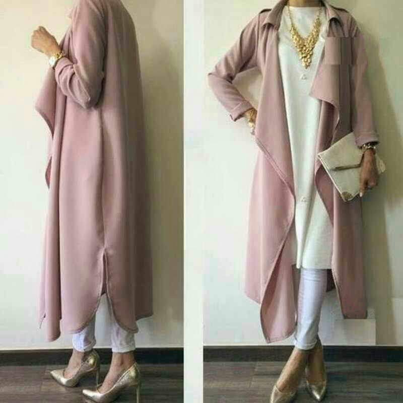 Fashion Muslim Coats Outwear Open Abaya Cardigan Jacket Kimono Long Robe Gowns Jubah Middle East Ramadan Arab Islamic Clothing