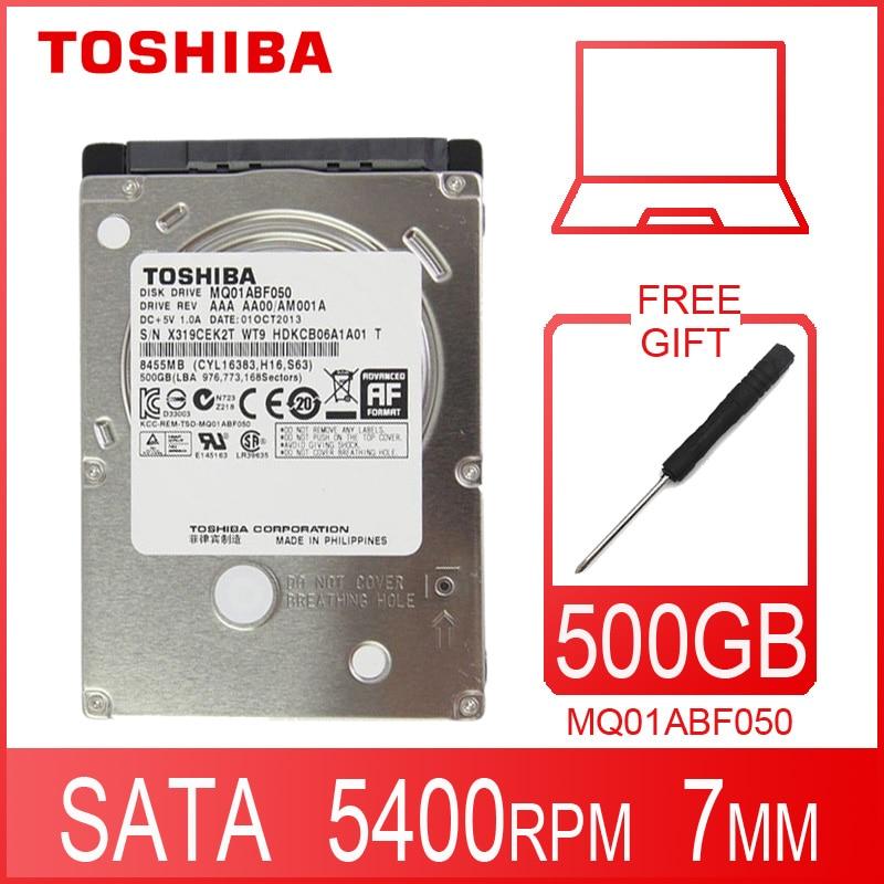 Жесткий Диск TOSHIBA для ноутбука, 500 Гб, 500 Гб, внутренний жесткий диск HD 2,5 дюйма, 5400 об/мин, кэш 8 МБ, 7 мм SATA 2 MQ01ABF050, оригинальный новый для ноутбук...