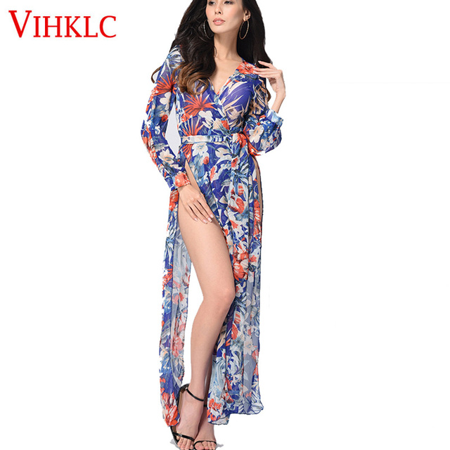 f2290bfa73d Boho floral Print Chiffon Split Long Dress Women Beach Summer V-Neck kimono  Sexy Dress Eleagnt Sash Wrap Maxi Dresses A402