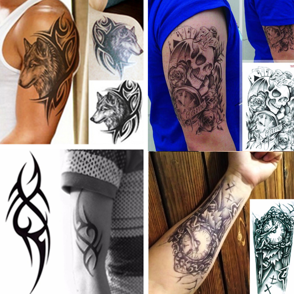 Waterproof Designs Temporary Tattoos 3D Black Robot Mechanical Arm Fake Transfer Tattoo Stickers Hot Sexy Cool Men Spray