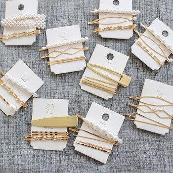Perlas de moda pinzas de pelo para mujer moda dulce imitación estilo coreano horquillas aleación BB Headmade Girls INS accesorios para el cabello