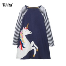 VIKITA Girls Dress Unicorn Baby Girls Cartoon Dresses Girl Striped Long Sleeve Dresses Children Clothing Fille European Dress