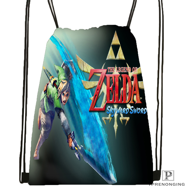 Custom Legend Of Zelda Drawstring Backpack Bag Cute Daypack Kids Satchel (Black Back) 31x40cm#180531-02-49