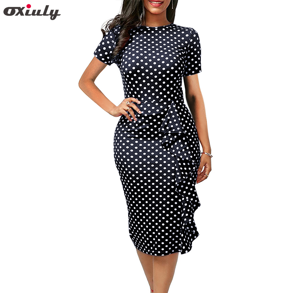 Oxiuly Polka Dot <font><b>Dress</b></font> Women Summer Casual Bodycon <font><b>Sexy</b></font> Ruffle Elegant Midi <font><b>Club</b></font> Party <font><b>Dresses</b></font> Plus Size <font><b>4XL</b></font> Vestidos De Festa image