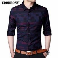 COODRONY Men Shirt Mens Business Casual Shirts 2017 New Arrival Men Famous Brand Clothing Plaid Long