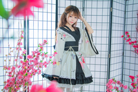 Shanghai Story Cotton Flower Printing Lace Edge Kimono Yukata Maid Dress Anime Lolita Sets Meidofuku Uniform Outfit