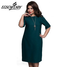 Dámské šaty pod kolena s polovičním rukávem, volný střih – 6XL