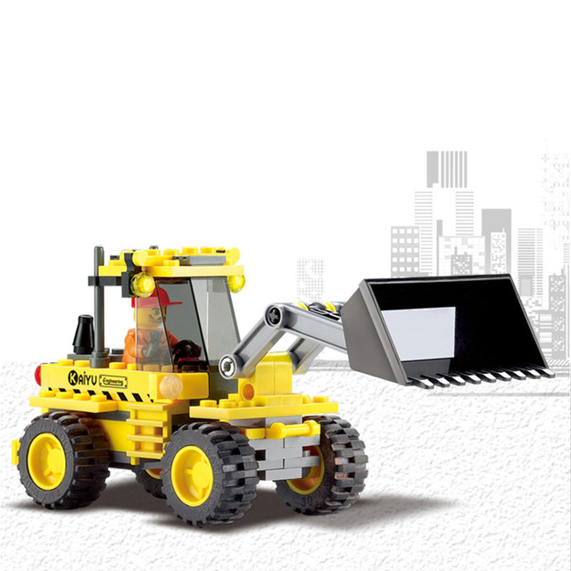 Kazi 117Pcs City Construction Bulldozer Building Blocks Of Plastic Inserted Enlightenment Toys For Beginner