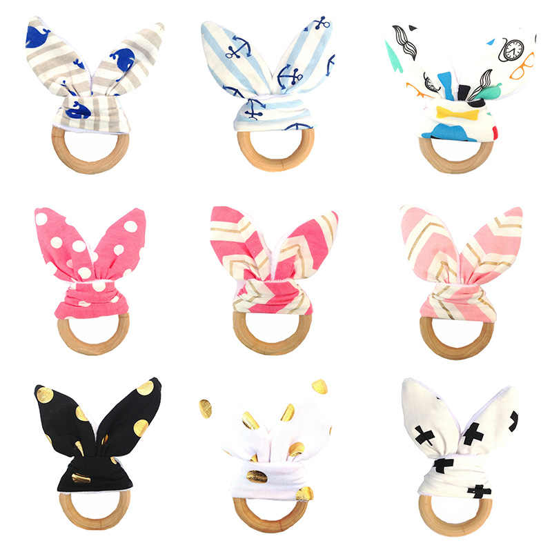 Baby Bunny Ear Teething Ring Safety Wooden Teether Fish Plaid Color Choice Newborn Chew Toy Gift Kids Care Accessories NBB0255