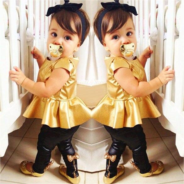 Fashion Baby Girls Kids Shirt Dress + Legging Pants Children Clothes Sets Suit Outfits Golden+Black finejo baby girls kids blouse jeans pants casual clothes sets suit outfits