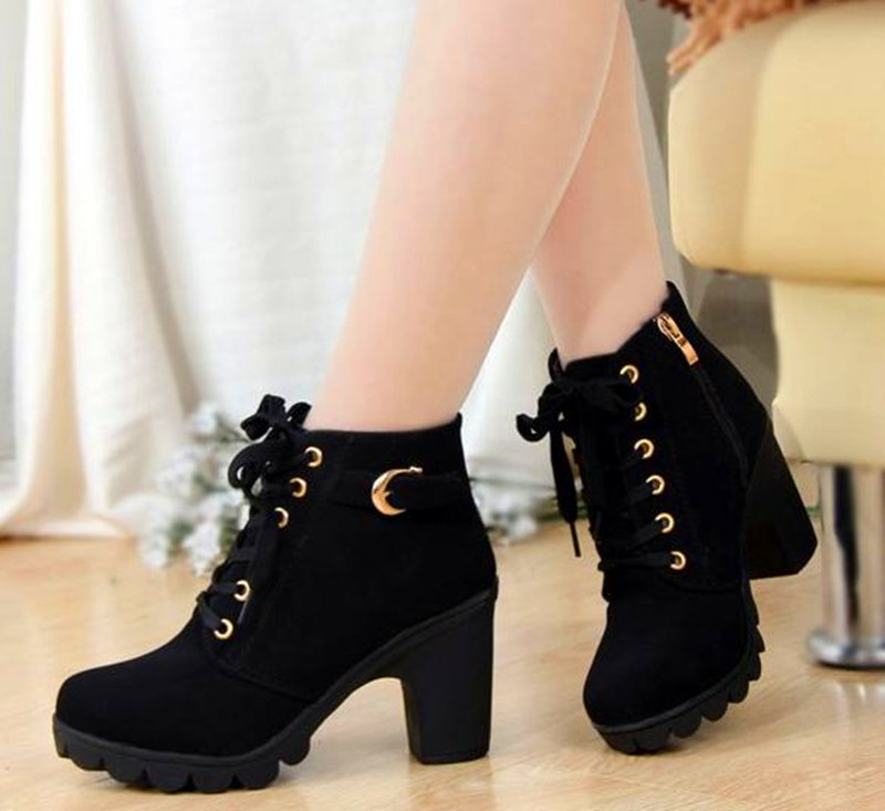 12..2016 new Korean fashion leisure shoes high-heeled boots black Tie cross straps boots with thick winter boots women