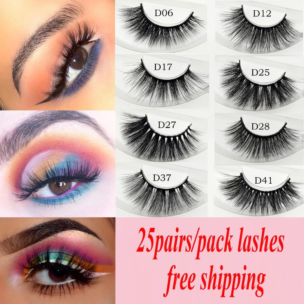 Visofree 25 pairs lot False Eyelashes 3D Faux Mink Lashes Natural Fake Lashes Long Makeup Extension