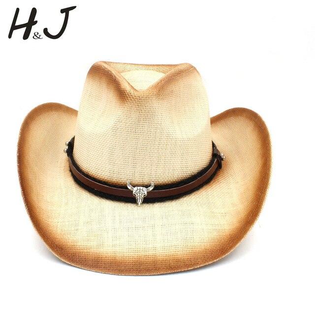 dd8bdde2cb6f3 Women Men Straw Cowboy Hat With Bull Head Band For Lady Dad Western