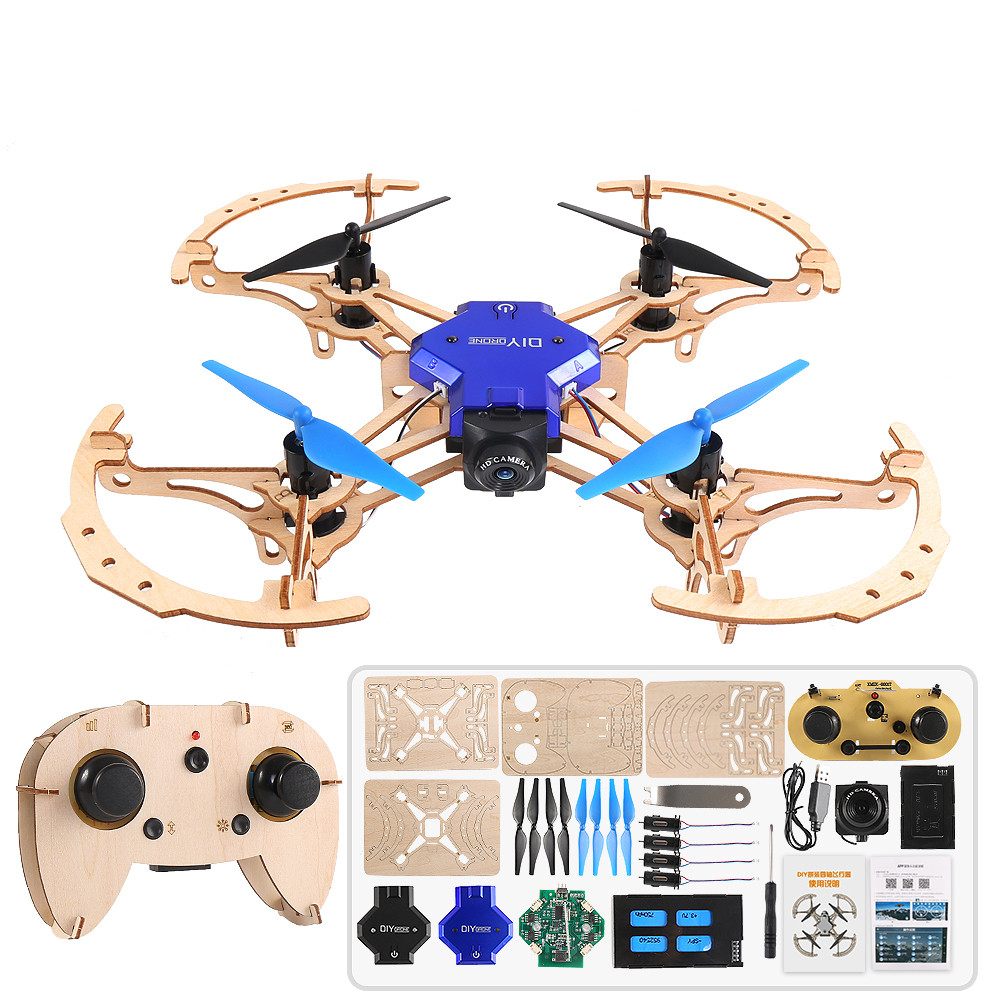 200mm DIY RC Drone 2 4G FPV Altitude Hold Display Wooden Quadcopter With Camera 720P 480P