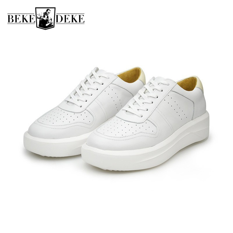 Top Brand Genuine Leather White Casual Shoes Men Lace Up Thicken Platform Male Footwear Lace Up Fashion Preppy Sapato Masculino 2017 new spring imported leather men s shoes white eather shoes breathable sneaker fashion men casual shoes