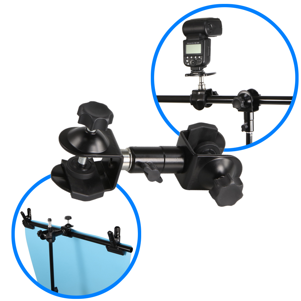 Meking Detachable Dual Clamp Swivel Mounting Open Jaw for DSLR Flash Bracket Boom Light Stand Backdrops Holder Shooting Table