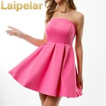 цены Laipelar Nigh Club Elegant Women Mini Dresses Sexy Slash Neck Slim Pattern Strapless Sleeveless Off Shoulder Mini Backless Dress