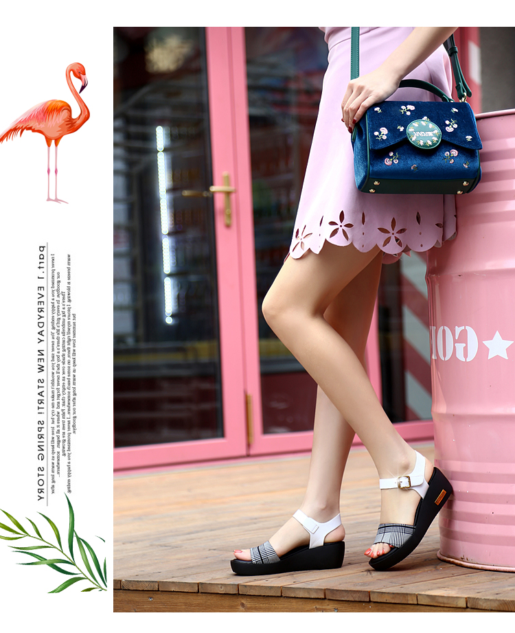 Sandals Female Summer Flat 2019 New Wild With High Heel Wedges Comfortable Non-slip Soft Bottom Pregnant Women Mother Shoes 66