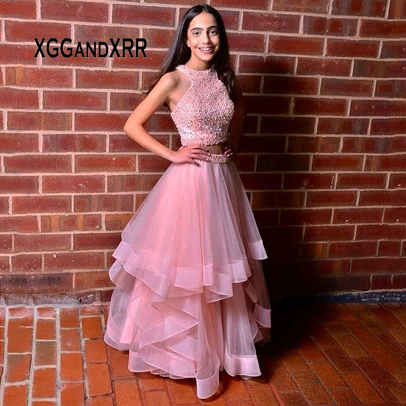 Pink Two Pieces Long   Evening     Dress   2019 Halter Prom Party Gown Tulle Tiered Skirt with Full Peals Beading Top abendkleider