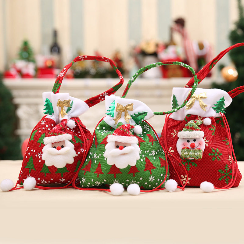 Christmas Candy Decorations.Us 1 69 40 Off Christmas Decorations The New Santa Claus Snowman Gift Bags Christmas Candy Bags Christmas Gift Bags In Stockings Gift Holders From
