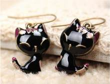 2016 Mode Kristal Studs Earrings Jantung Crown Kitty Cat Bow Pendientes Brincos Earrings untuk wanita Hadiah(China)