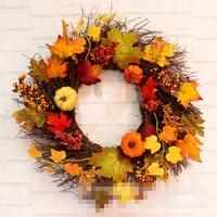 Christmas Thanksgiving 60cm Autumn Maple Leaf Decoration Wreath Home Restaurant Window Pine Cone Pumpkin Bow Pendant
