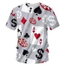 Забавные футболки для мужчин и женщин в стиле Харадзюку С 3D принтом игры в покер, модная летняя футболка большого размера, 7XL, мужская одежда в стиле хип-хоп
