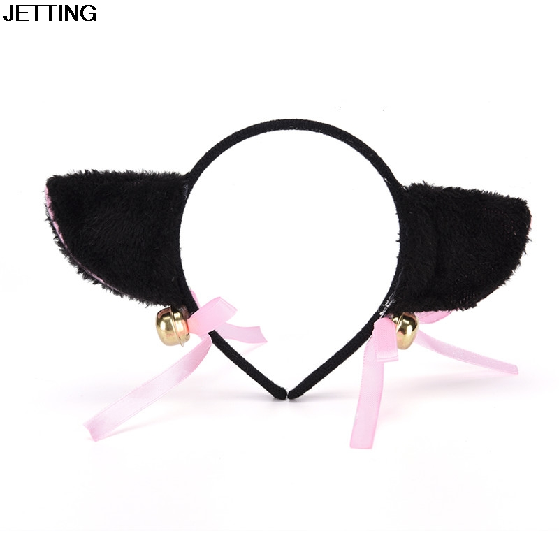 Sexy Lace Cat Ear Headbands For Womens Party Head Bezel Bell Girls Ear Cat Hairband Headwear Hair Accessories Elegant Appearance Girl's Accessories Apparel Accessories