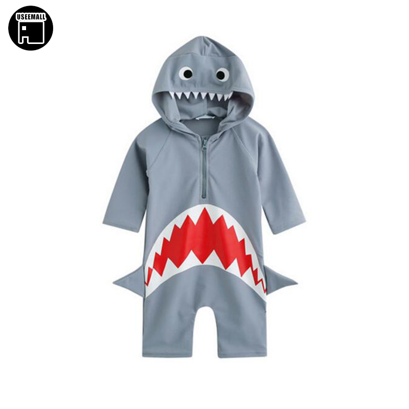 Boys Swimsuit Child One Piece Swimwear 2017 New Summer Shark Style Kids Bathing Suits Boys Rash Guards Quick Drying for 2-8Y