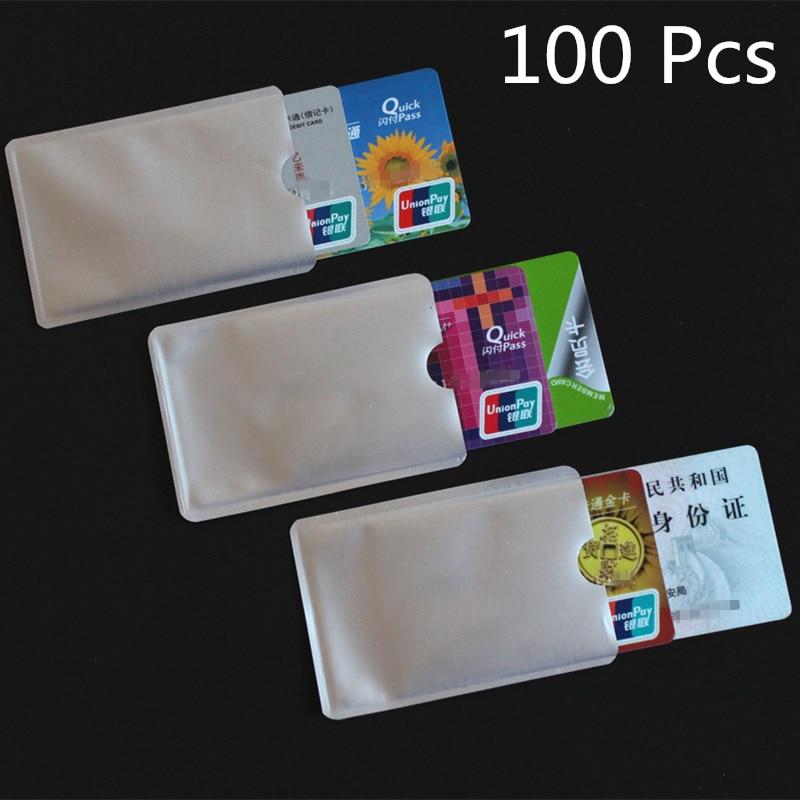 100pcs de Prata Anti RFID Varredura Manga Protetor de Cartão de IDENTIFICAÇÃO de Crédito Titular Da Folha De Alumínio New Qualidade Durável