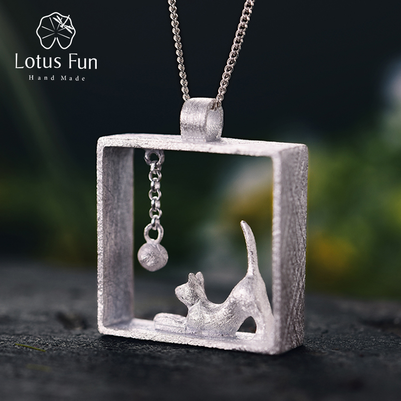 Lotus Fun Real 925 Sterling Silver Handmade Fine Jewelry Creative Cat Playing Balls Pendant without Chain Acessorios for Women lotus fun real 925 sterling silver handmade fine jewelry creative cat playing balls pendant without chain acessorios for women