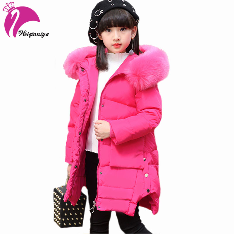 Winter Thick Duck Down Coat For Girls New Brand 2017 Fashion Fur Hooded Children Outwear Long Parka Jacket For Russia Winter