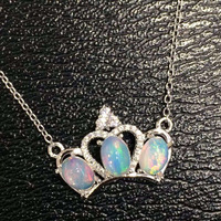 Natural opal Necklace natural gemstone Pendant Necklace S925 silver Fashion Elegant Crown for girls Child party fine Jewelry