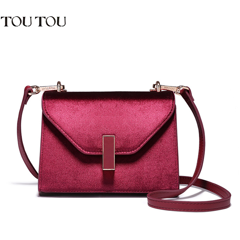 A1647 TouTou brand Vintage Crossbody bag Women Bag Luxury Women Handbags Purse Designer Brand Ladies Chain Velvet Shoulder bag summer mini chain bag handbags women famous brand luxury handbag women bag designer 2018 crossbody bag for women purse bolsas