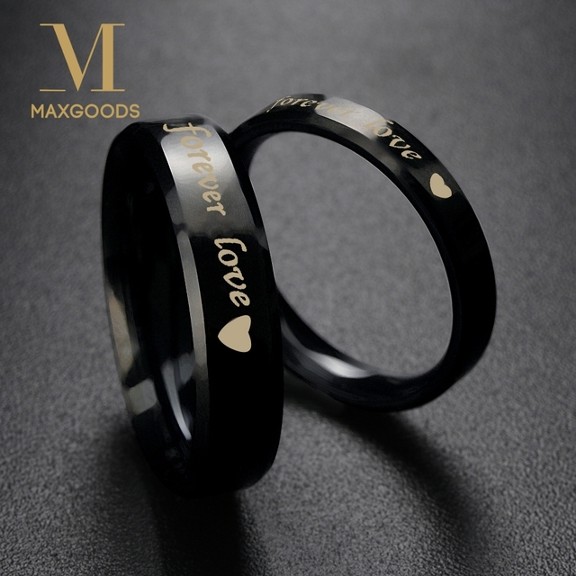 b9d5da387c 1 Pcs Simple Steel titanium Forever love Couple Rings Wedding Band His and Her  Promise Rings