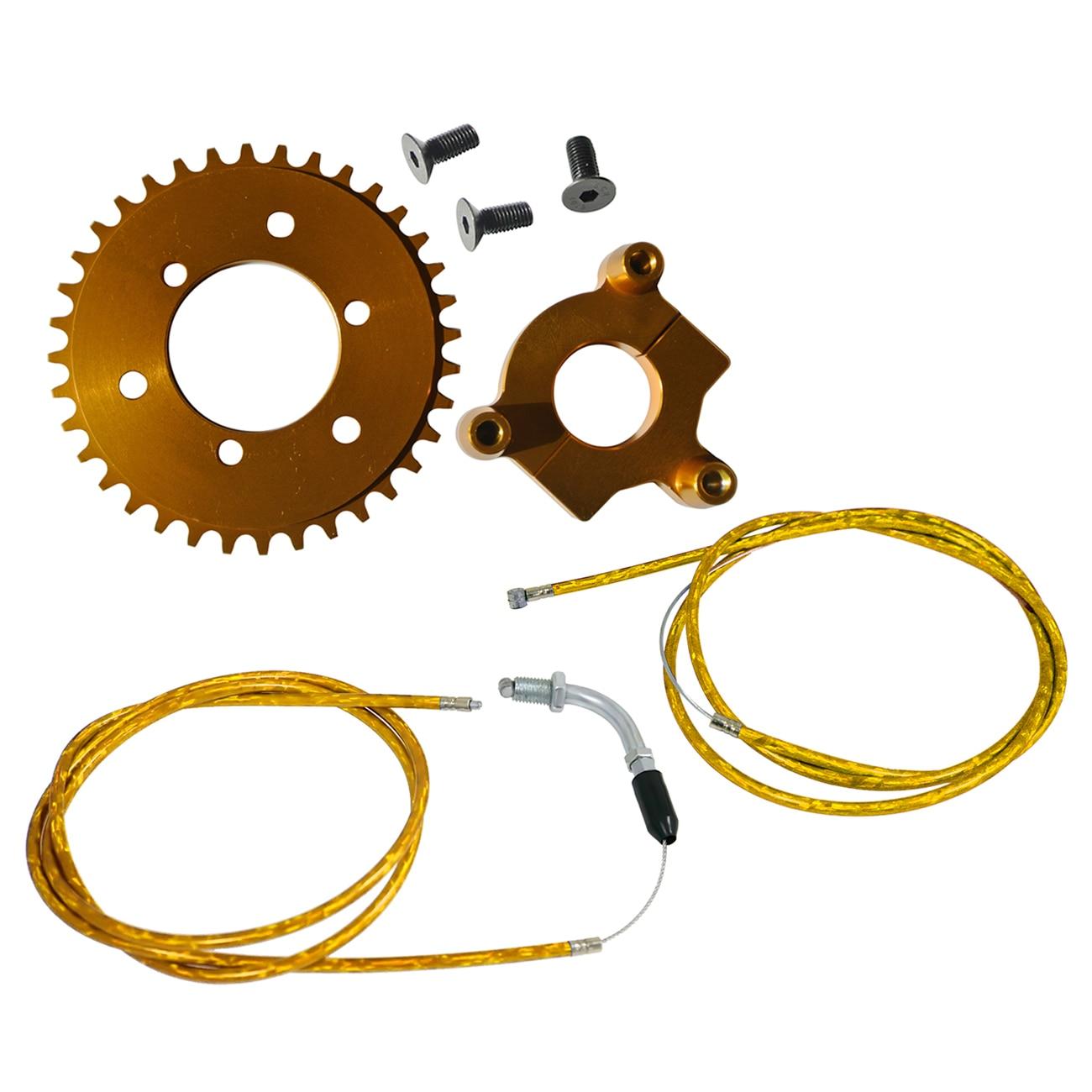 CNC 36 T pignon et ligne d'accélérateur Fit 49cc 60cc 66cc 80cc vélo motorisé