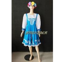 High Quality Customized Women Or Children Russian National Dress With Flower Headwear,Blue Folk Dancing Dresses Drop Shipping