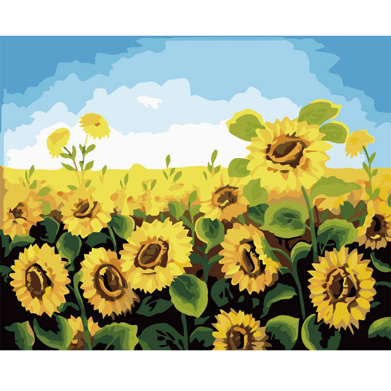 sunflower Oil Painting By Numbers Paint On Canvas Sale Draw Pictures Painting Coloring By Numbers On The Wall Art Decor For Home