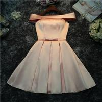Classic Champagne Sexy Boat Neck Short night Dress Noble Satin Short Sleeve Off The Shoulder Party Dress Vestido De Festa