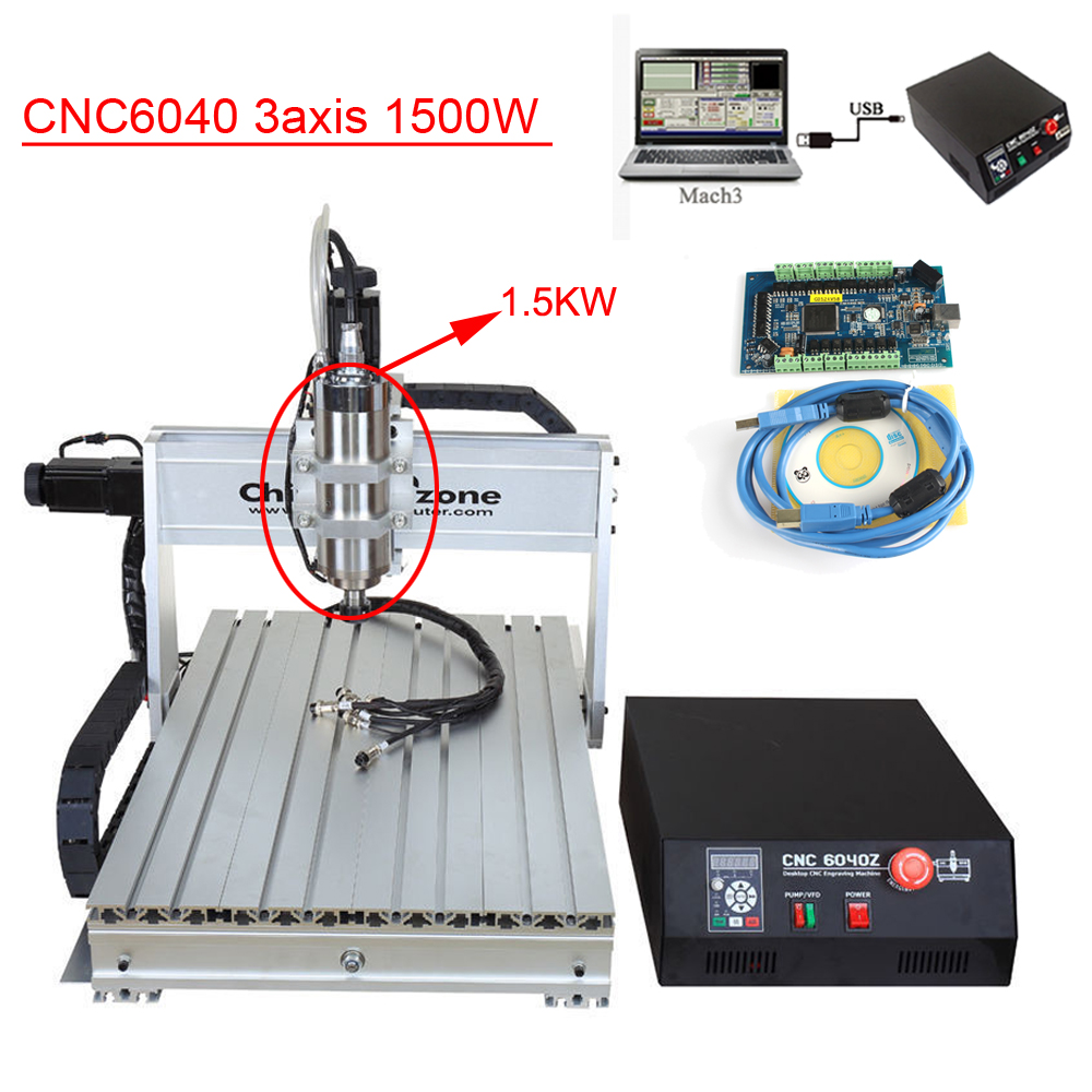 CNC 6040 1500W 3 Axis CNC Router Engraver Engraving Machine Hobby Desktop Mini Aluminum with Cooling System 5 axis cnc router 6040 cnc router 1500w spindle ball screw cnc 6040 engraver engraving machine