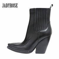 Jady Rose Fashion Ankle Boots for Women Slip On Genuine Leather Chunky High Heel Botas Mujer Platform Wedge Shoes Martin Boot