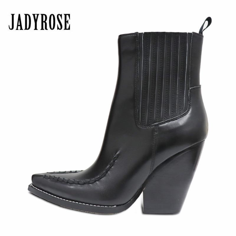 все цены на Jady Rose Fashion Ankle Boots for Women Slip On Genuine Leather Chunky High Heel Botas Mujer Platform Wedge Shoes Martin Boot