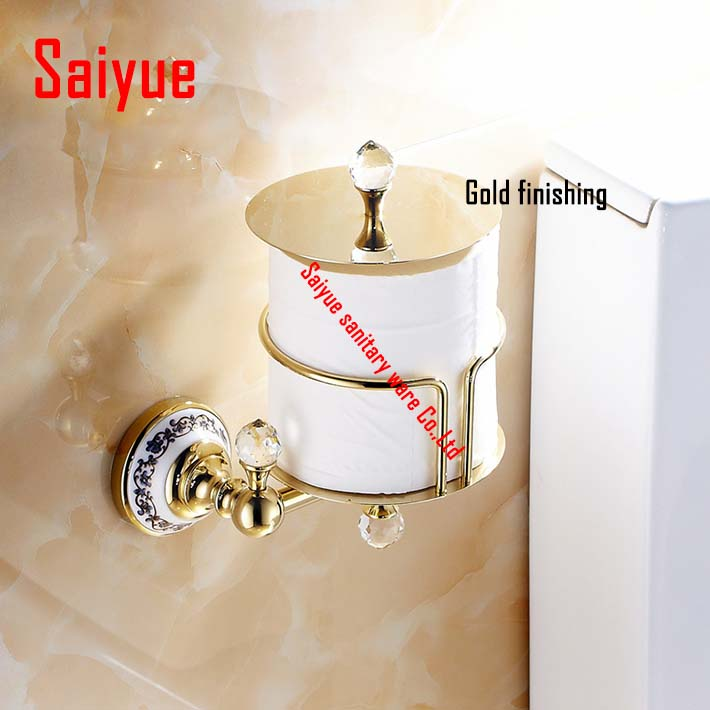 High Quality Luxury Crystal Decoration Gold Brass WC Toilet Paper roll Holders Waterproof Tissue box Bathroom Accessories gold crystal wall mounted toilet paper holders brass wc roll paper tissue basket bathroom accessories